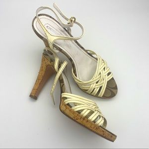 Coach patent leather strappy cork heel shoes
